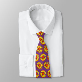 Retro Daisy Yellow On Purple Neck Tie