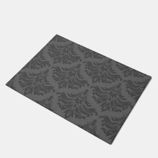Retro Damask Brocade Steel Charcoal Gray Doormat