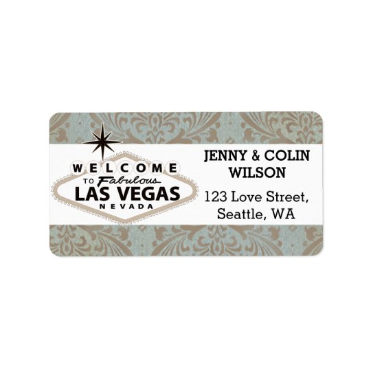 Retro Damask Floral Vegas Wedding Address Label