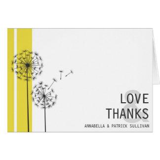 Retro Dandelions Yellow Minimalist Thank You Greeting Card