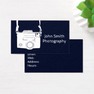 Retro Dark Blue Vintage Film Camera Photography Business Card
