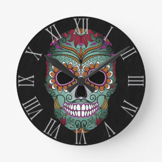 Retro Day of the Dead Sugar Skull on Leather Wall Clock