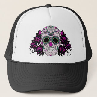 Retro Day of the Dead Sugar Skull Trucker Hat