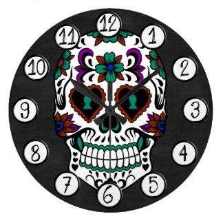 Retro Day of the Dead Sugar Skull Wall Clocks