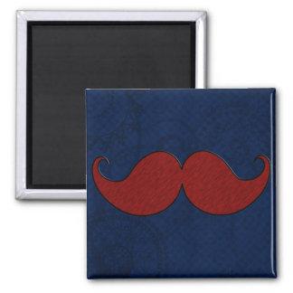 Retro Denim Mustache Moustache Stache Square Magnet