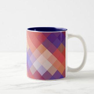 Retro Diamond Chevron Pattern Two-Tone Coffee Mug