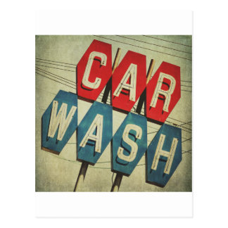 Retro Diamond Shaped Car Wash Sign Postcard
