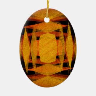 Retro diamond shapes pattern ceramic oval decoration