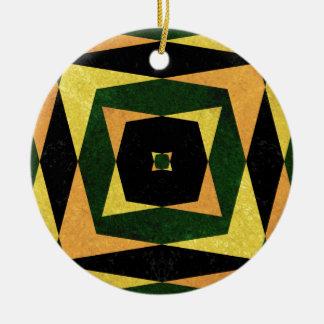 Retro diamond shapes pattern round ceramic decoration