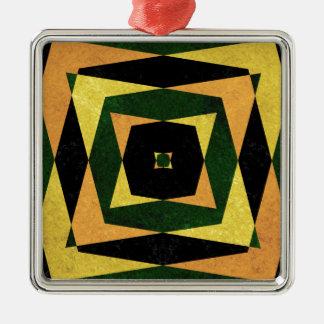 Retro diamond shapes pattern Silver-Colored square decoration
