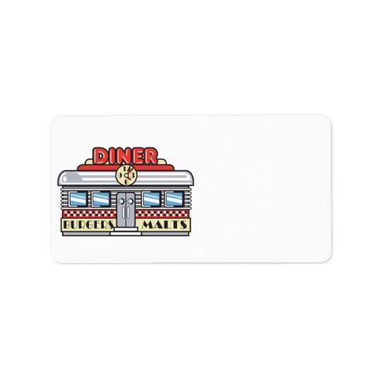 retro diner design address label