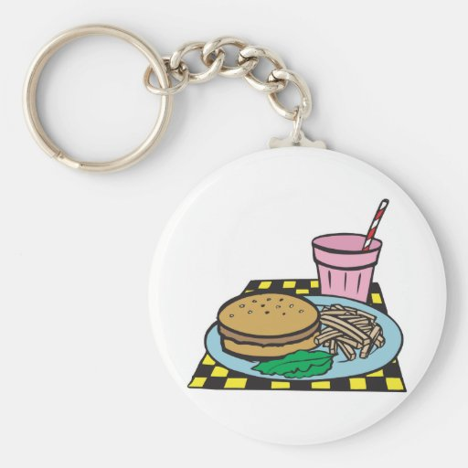 retro diner fast food meal keychains