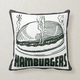 Retro Diner Hamburgers Throw Pillow