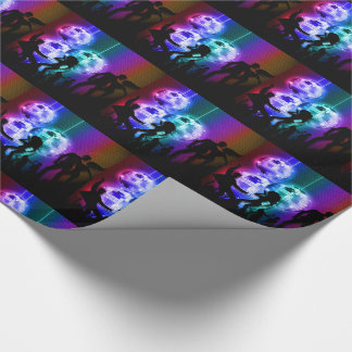 Retro Disco Ball Party Theme with Rainbow Colors Wrapping Paper