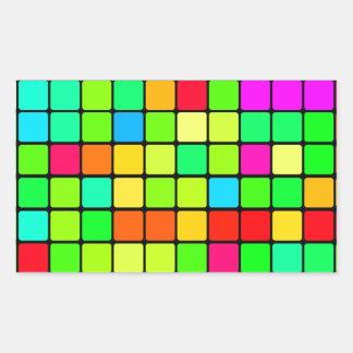 Retro Disco Colorful Squares Rectangular Sticker