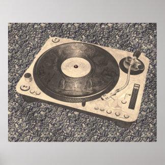 Retro DJ Turntable Grunge Poster