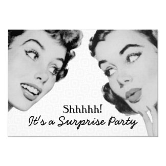Retro Do Tell Surprise Birthday Party 13 Cm X 18 Cm Invitation Card