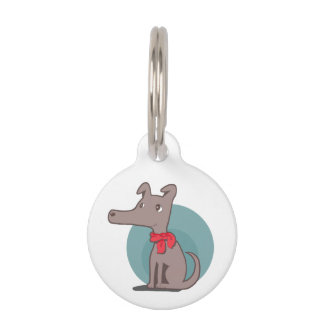 Retro Dog With a Red Scarf Pet Tag