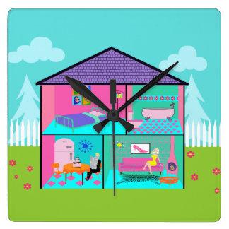 Retro Dollhouse Wall Clock