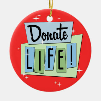 Retro Donate Life Ceramic Ornament