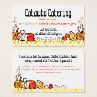 Retro doodle wine cheese catering business card