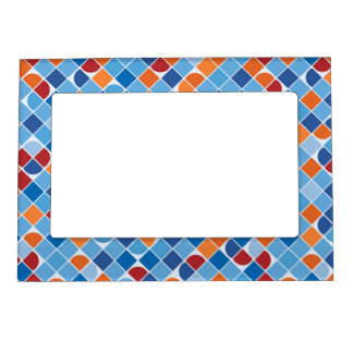 Retro dot check mosaic blue pattern photo frame magnets