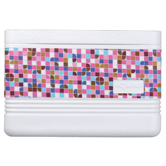 Retro dot check mosaic pink pattern cooler