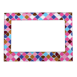 Retro dot check mosaic pink pattern magnetic photo frame