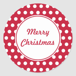 Retro Dot Red Merry Christmas Stickers