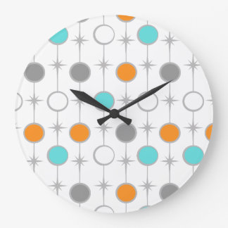 Retro Dots and Starbursts Acrylic Wall Clock