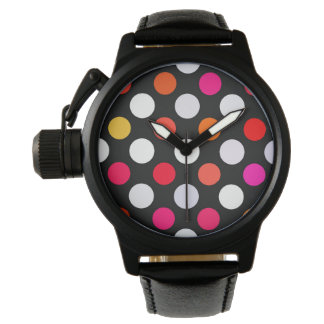 Retro Dots in Shades of Red Watch