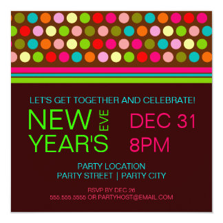 Retro Dots New Years Eve Party Invitation