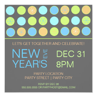 Retro Dots New Years Eve Party Invitation