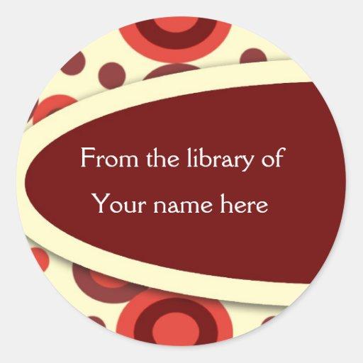 Retro Dots Personalized Bookplates Round Stickers