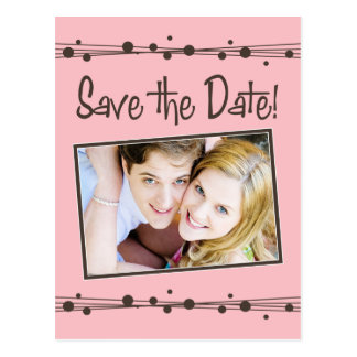 Retro Dots & Straw Chocolate/Pink Save the Date Postcard