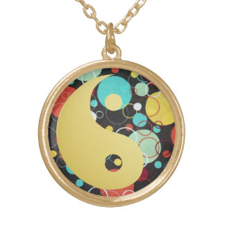 Retro Dots Yin and Yang Gold Plated Necklace
