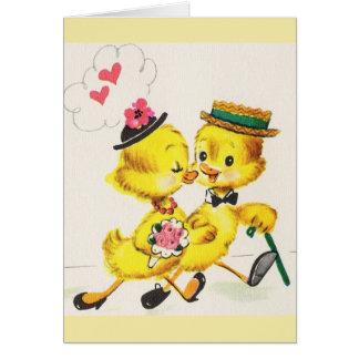 Retro Duckling Anniversary Or Wedding Card