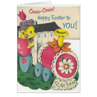 Retro Easter Train Easter Card