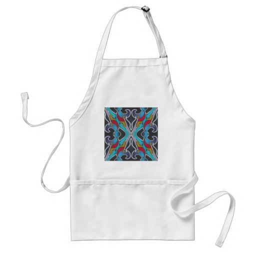 RETRO ECLECTIC AND ELECTRIC VIBRANT GRAPHIC DESIGN APRON