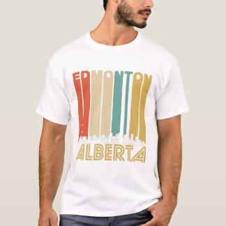 Retro Edmonton Alberta Canada Skyline T-Shirt