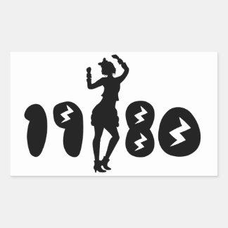 Retro Eighties Woman Rectangular Sticker