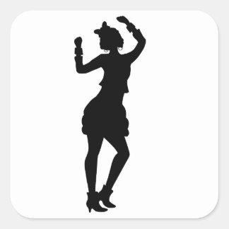 Retro Eighties Woman Square Sticker