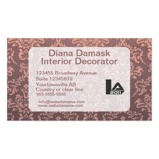 Retro elegant Damask Rosy Brown Business Card