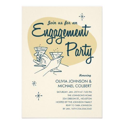 Retro Engagement Party Invitations