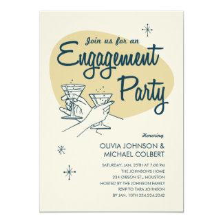 Retro Engagement Party Invitations