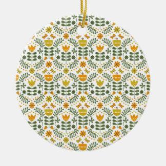 Retro European Flowers Round Ceramic Decoration