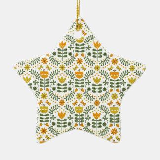 Retro European Flowers Ceramic Star Decoration