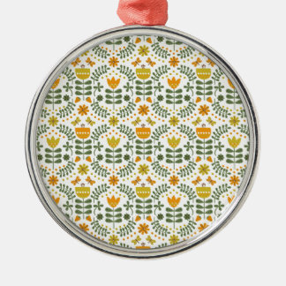 Retro European Flowers Silver-Colored Round Decoration