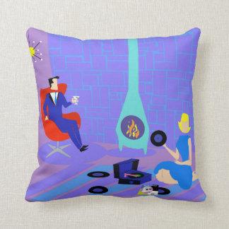 Retro Evening at Home Throw Pillow