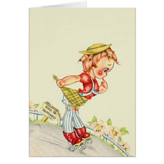 Retro Extreme Sports Roller Skater Down steep Hill Card